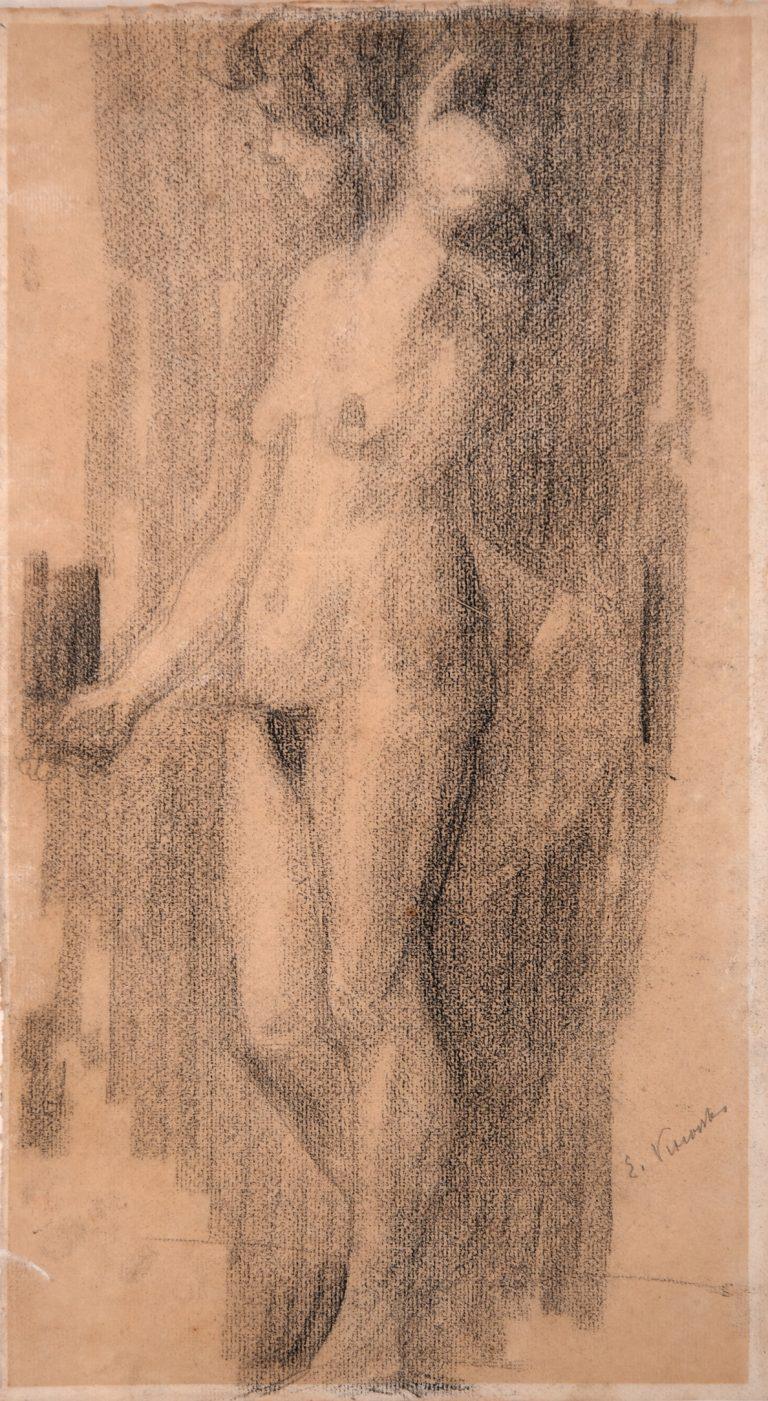 NU FEMININO - CARVÃO S/ PAPEL - 43 x 24 cm - c.1897 - COLEÇÃO PARTICULAR