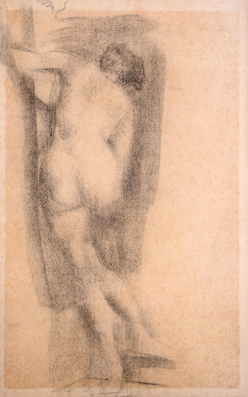 NU DE COSTAS - CARVÃO S/ PAPEL - 43 x 27 cm - c.1897 - COLEÇÃO PARTICULAR