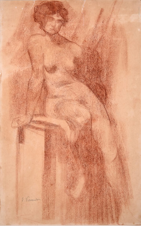 NU SENTADO - SANGUÍNEA - 41,5 x 26,0 cm - c.1897 - COLEÇÃO PARTICULAR