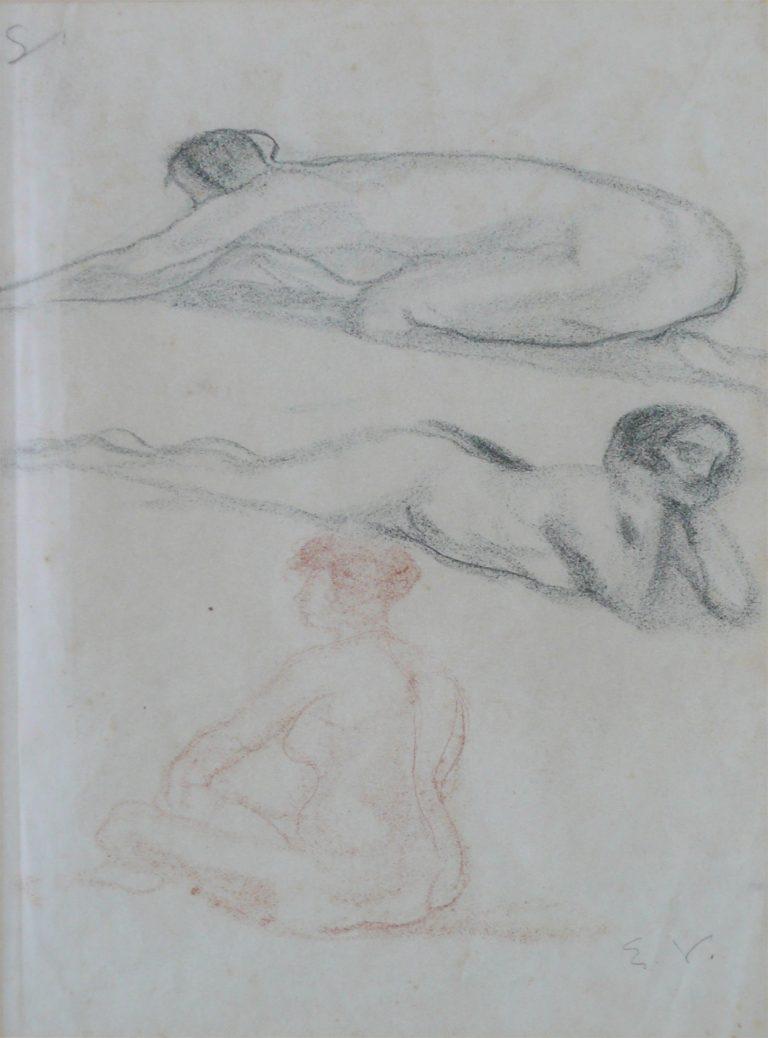 NUS FEMININOS - CRAYON S/ PAPEL - 42 x 26 cm - c.1895 - COLEÇÃO PARTICULAR