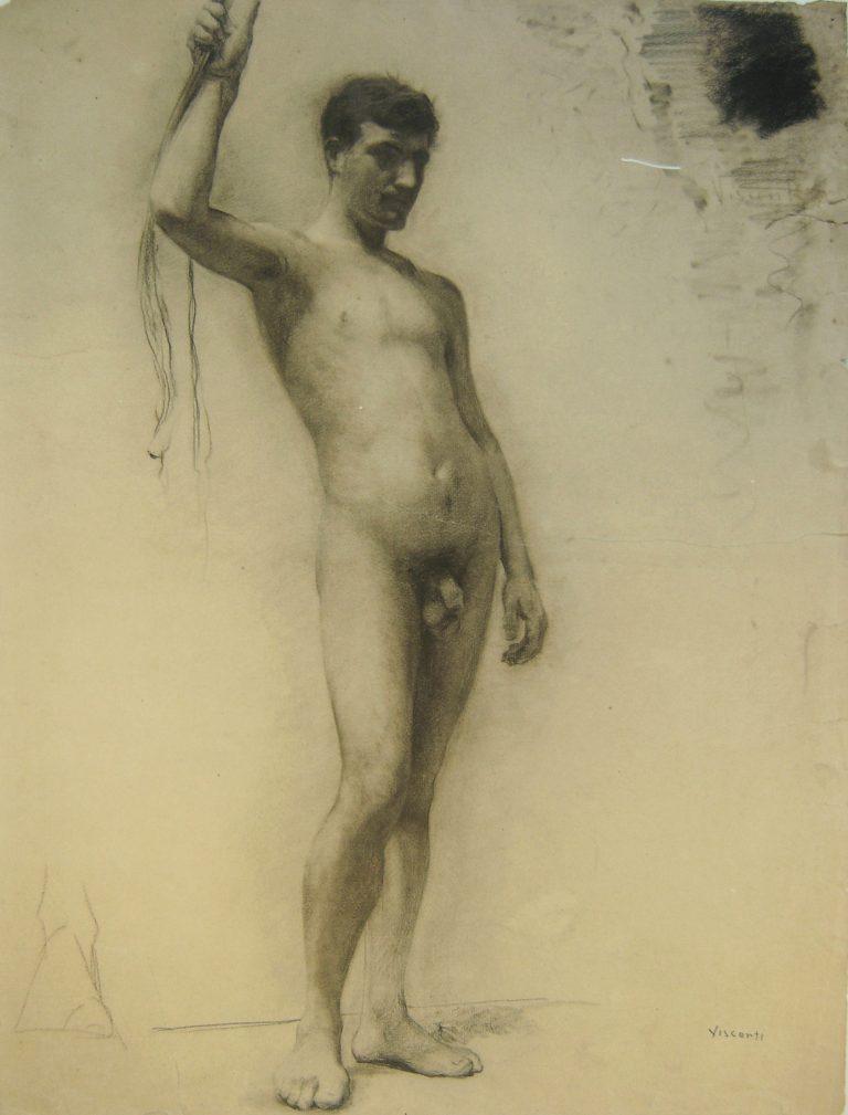 NU MASCULINO DE PÉ - CRAYON/PAPEL - 61,5 x 47,5 cm - c.1893 - MUSEU DOM JOÃO VI/ESCOLA DE BELAS ARTES-UFRJ