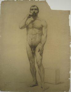 NU MASCULINO DE PÉ - CRAYON/PAPEL - 61,5 x 47,0 cm - c.1893 - MUSEU DOM JOÃO VI/ESCOLA DE BELAS ARTES-UFRJ