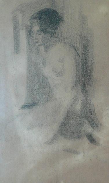 NU FEMININO - CARVÃO/PAPEL - 39 x 24 cm - c.1895 - COLEÇÃO PARTICULAR