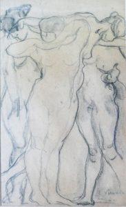 CORPOS FEMININOS - CARVÃO/PAPEL - 43 x 26 cm - c.1899 - COLEÇÃO PARTICULAR