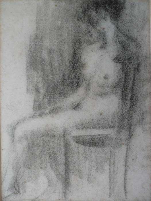 NU FEMININO SENTADO - CARVÃO /PAPEL - 30 x 23 cm - c.1895 - COLEÇÃO PARTICULAR