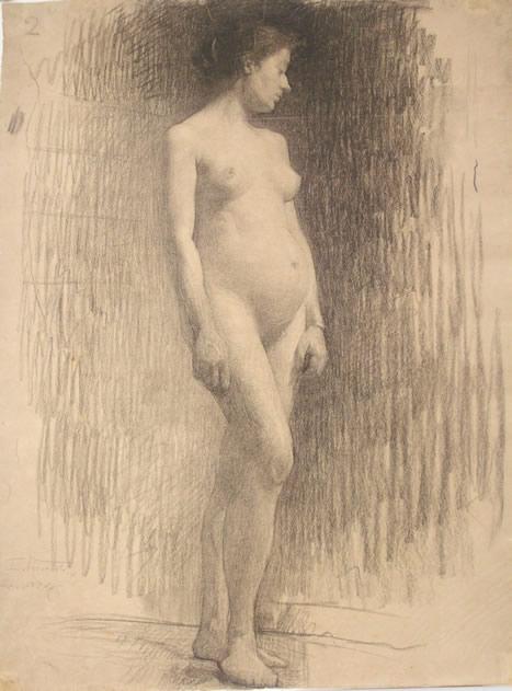 NU FEMININO - CARVÃO S/ PAPEL - 62,5 x 47,6 cm - 1894 - MUSEU NACIONAL DE BELAS ARTES - MNBA - RIO DE JANEIRO/RJ