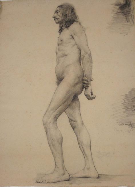 NU MASCULINO - CARVÃO S/ PAPEL - 63 x 48 cm - 1893 - MUSEU NACIONAL DE BELAS ARTES - MNBA - RIO DE JANEIRO/RJ