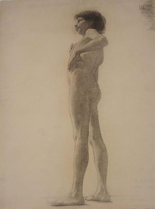 NU MASCULINO - CARVÃO S/ PAPEL - 62,0 x 47,6 cm - 1893 - MUSEU NACIONAL DE BELAS ARTES - MNBA - RIO DE JANEIRO/RJ