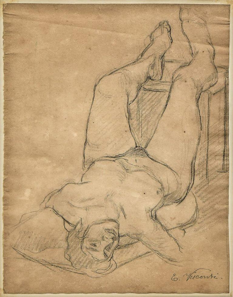 NU DEITADO - CARVÃO/PAPEL - 25,5 x 19,5 cm - 1891 - COLEÇÃO PARTICULAR