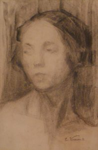 CABEÇA FEMININA - CRAYON/PAPEL - 1900 - COLEÇÃO PARTICULAR