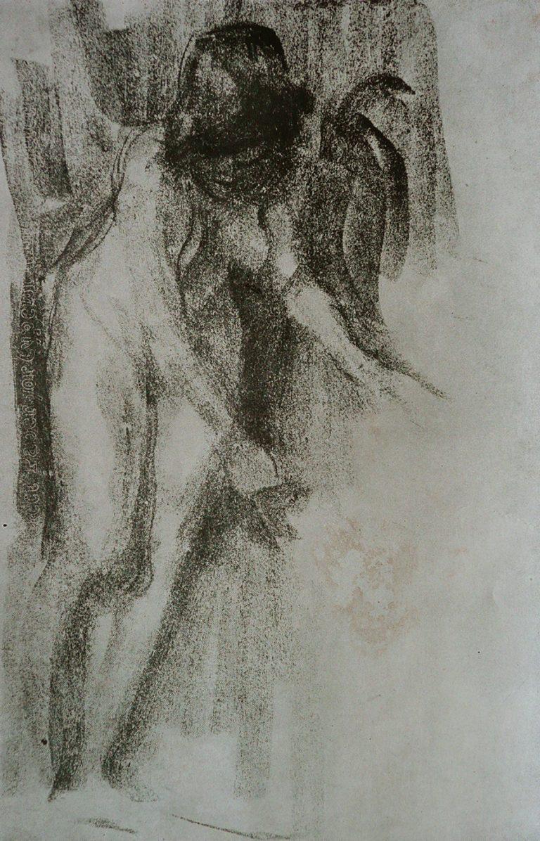 NU FEMININO - CARVÃO/PAPEL - c.1897 - LOCALIZAÇÃO DESCONHECIDA