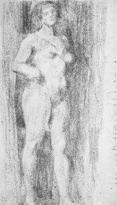 NU FEMININO - CARVÃO SOBRE PAPEL - c.1896 - LOCALIZAÇÃO DESCONHECIDA