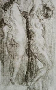 NUS FEMININOS - CARVÃO S/ PAPEL - 24,0 x 40,5 cm - c.1900 - COLEÇÃO PARTICULAR
