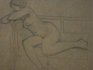 NU FEMININO SENTADO - CRAYON S/ PAPEL - 23 x 30 cm - c.1914 - COLEÇÃO PARTICULAR
