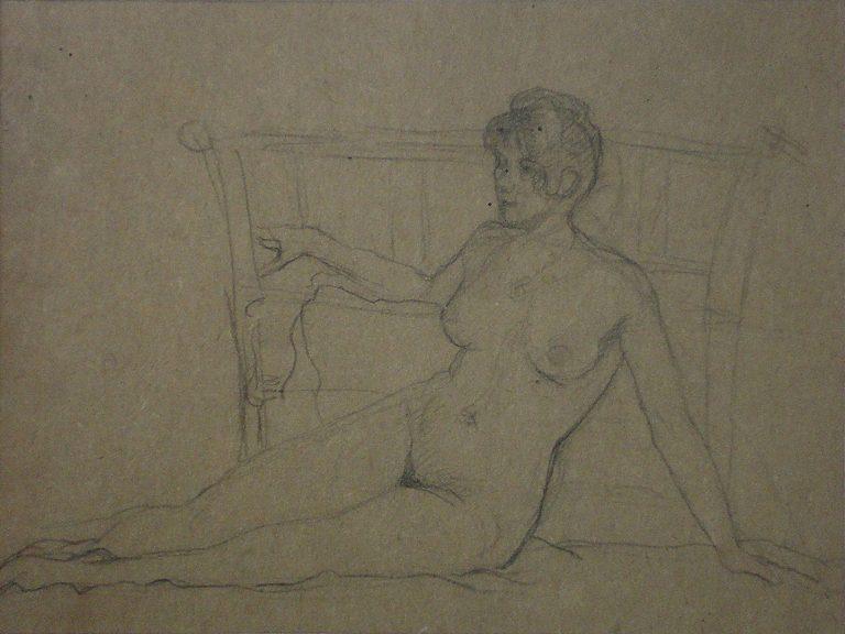 NU FEMININO RECOSTADO - CRAYON S/ PAPEL - 23 x 30 cm - c.1914 - COLEÇÃO PARTICULAR