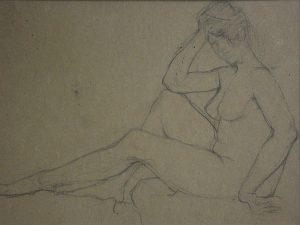 NU FEMININO - CRAYON S/ PAPEL - 23 x 30 cm - c.1914 - COLEÇÃO PARTICULAR