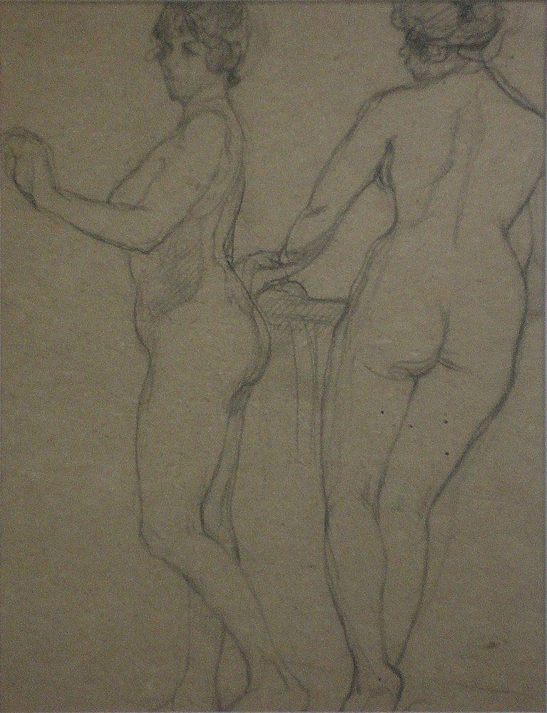 NUS FEMININOS - CRAYON S/ PAPEL - 30 x 23 cm - c.1914 - COLEÇÃO PARTICULAR