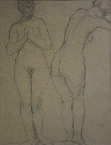 NUS FEMININOS DE PÉ - CRAYON S/ PAPEL -30 x 23 cm - c.1914 - COLEÇÃO PARTICULAR