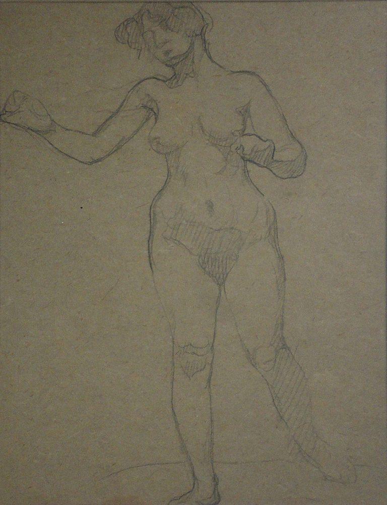 NU FEMININO DE PÉ - CRAYON S/ PAPEL - 30 x 23 cm - c.1914 - COLEÇÃO PARTICULAR