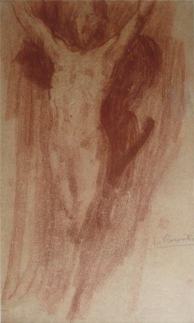 NU MASCULINO - SANGUÍNEA - 43 x 25 cm - c.1900 - COLEÇÃO PARTICULAR