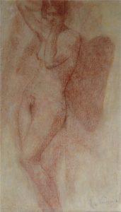 NU FEMININO DE PÉ - SANGUÍNEA - 38 x 21 cm - c.1900 - COLEÇÃO PARTICULAR