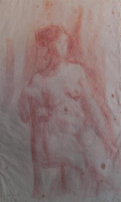 NU FEMININO - SANGUÍNEA - 40 x 25 cm - c.1900 - COLEÇÃO PARTICULAR