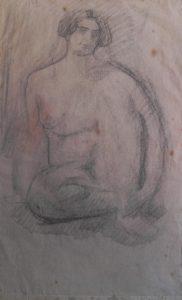 NU FEMININO SENTADO - VERSO DA OBRA D390 - CARVÃO S/ PAPEL - 40 x 25 cm - c.1900 - COLEÇÃO PARTICULAR