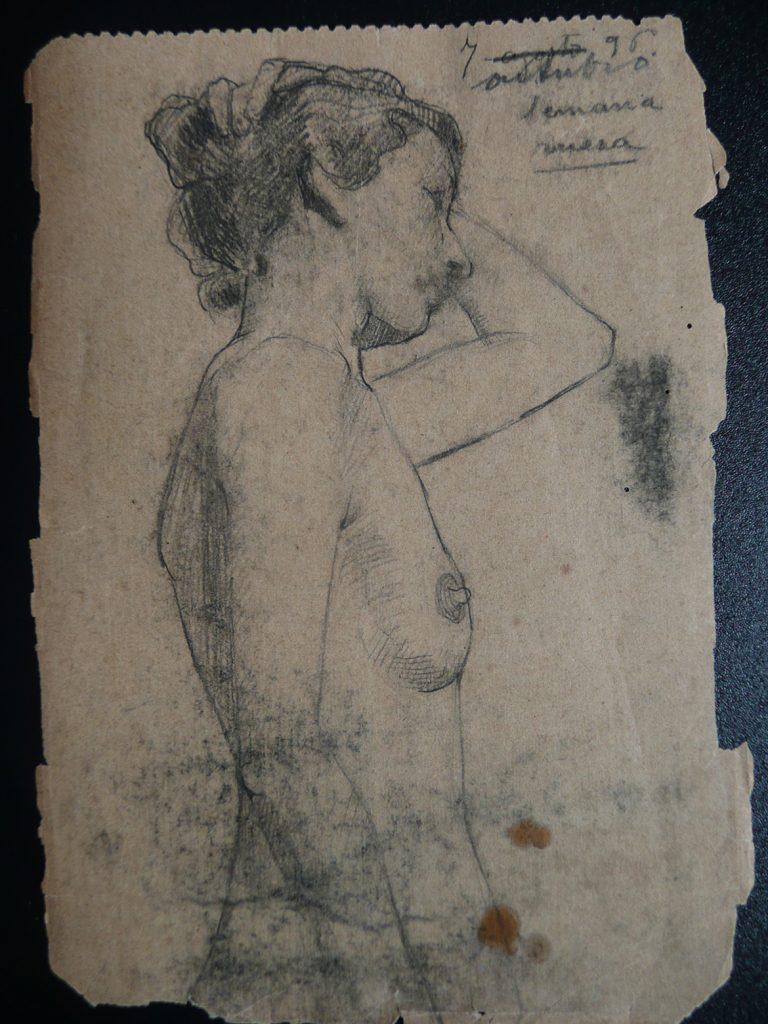 NU FEMININO - CRAYON S/ PAPEL - 12 x 8 cm - 1896 - DESMEMBRADO DE UM CADERNO DE ANOTAÇÕES - COLEÇÃO PARTICULAR