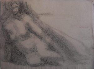 NU FEMININO - CRAYON S/ PAPEL - 23,5 x 31,0 cm - c.1900 - COLEÇÃO PARTICULAR