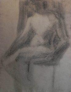 NU FEMININO SENTADO - VERSO DA OBRA D392 - CRAYON S/ PAPEL-31,0x23,5 cm-c.1900-COLEÇÃO PARTICULAR
