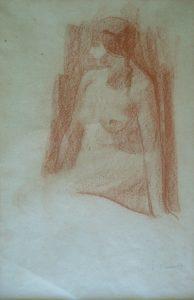 NU FEMININO SENTADO - SANGUÍNEA - 40 x 26 cm - c.1900 - COLEÇÃO PARTICULAR