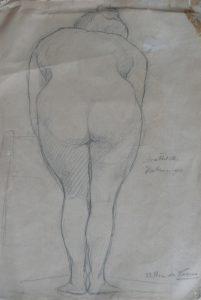 NU FEMININO DE COSTAS - CRAYON/PAPEL - 33,0 x 22,5 cm - c.1897 - COLEÇÃO PARTICULAR