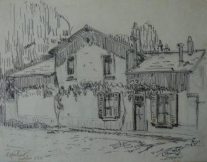 CASA DOS PALOMBE EM SAINT HUBERT - BICO DE PENA/PAPEL - 22,5 x 29,0 cm - 1913 - COLEÇÃO PARTICULAR