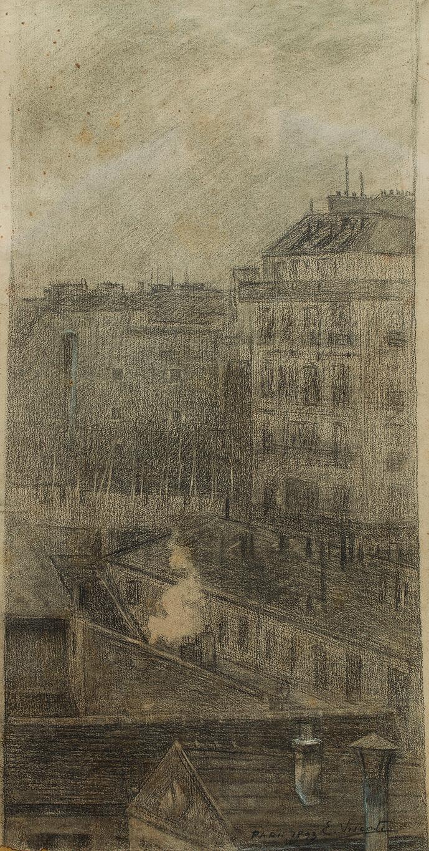 VISTA DE PARIS - CARVÃO E GIZ S/ PAPEL - 61,2 x 31,0 cm - 1893 - COLEÇÃO PARTICULAR