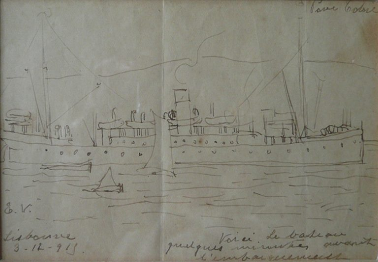 LE BATEAU - BICO DE PENA/PAPEL - 8,5 x 12,5 cm - 1915 - COLEÇÃO PARTICULAR