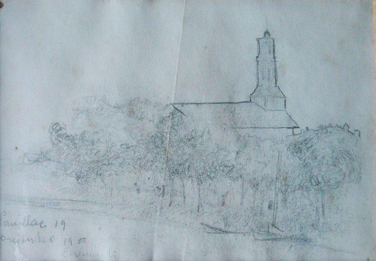 IGREJA DE PAUILLAC - CRAYON S/ PAPEL - 10 x 15 cm - 1900 - COLEÇÃO PARTICULAR
