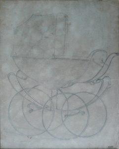 CARRINHO DE BEBÊ - ESTUDO PARA CARRINHO DE CRIANÇA - GRAFITE S/ PAPEL - 23 x 28 cm - 1917 - COLEÇÃO PARTICULAR