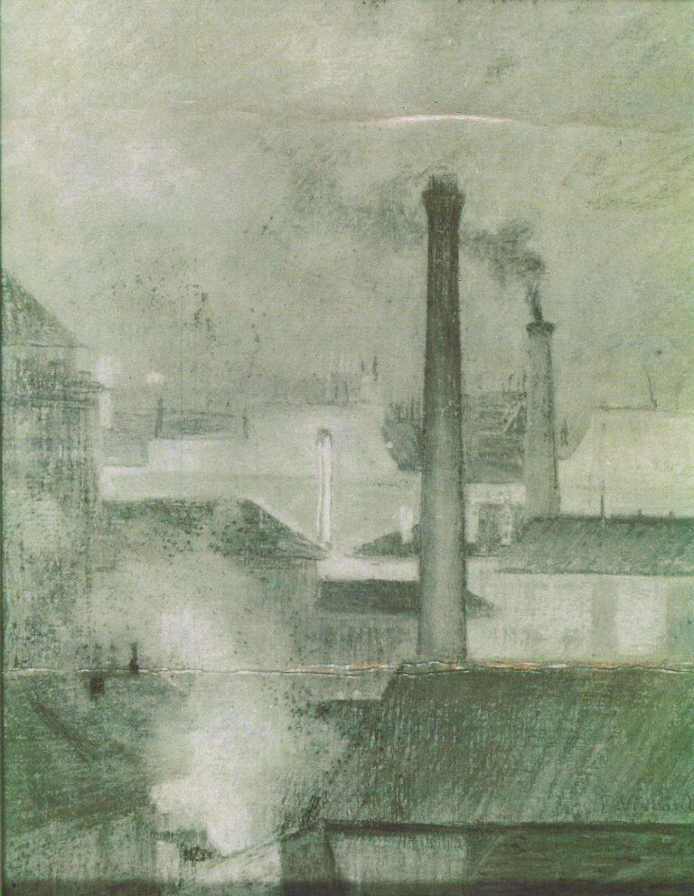 TELHADOS DE PARIS - PAISAGEM COM CHAMINÉ - PASTEL SOBRE TELA - 40,9 x 32,8 cm - c.1900 - ACERVO DO MUSEU NACIONAL DE BELAS ARTES DO RIO DE JANEIRO - MNBA - LOCALIZAÇÃO ATUAL DESCONHECIDA