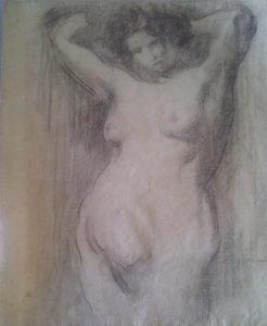 NU FEMININO - CARVÃO SOBRE PAPEL - 62 x 47 cm - c.1900 - COLEÇÃO PARTICULAR