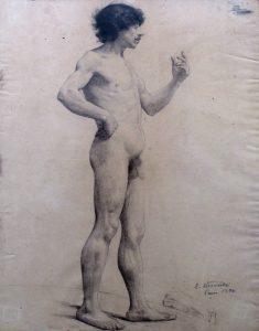 NU MASCULINO DE PÉ - CRAYON SOBRE PAPEL - 75 x 46 cm - 1896 - COLEÇÃO PARTICULAR