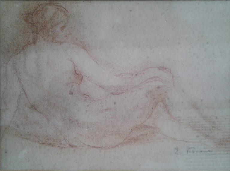 NU FEMININO RECOSTADO - SANGUÍNEA - 22 x 29 cm - c.1900 - COLEÇÃO PARTICULAR