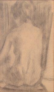 DORSO FEMININO - CARVÃO S/ PAPEL - 45 x 29 cm - c.1900 - COLEÇÃO PARTICULAR
