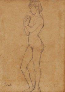 MODELO - CRAYON S/ PAPEL - 31,0 x 24,0 cm - c.1896 - COLEÇÃO PARTICULAR