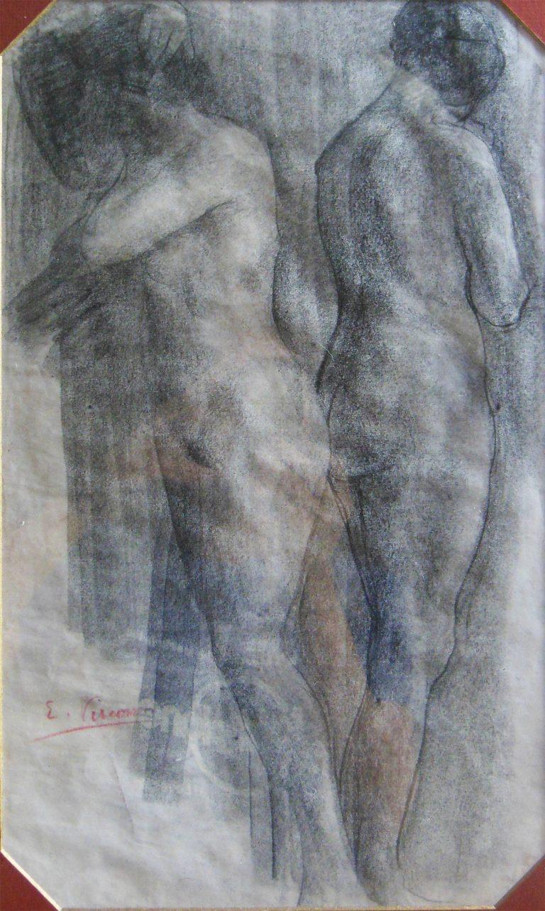 NUS FEMININOS - CARVÃO SOBRE PAPEL - 41,5 x 25,0 cm - c.1900 - COLEÇÃO PARTICULAR