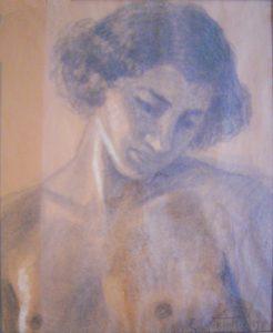 BUSTO FEMININO - CARVÃO E GIZ SOBRE PAPEL - 38,0 x 29,5 cm - 1894 - COLEÇÃO PARTICULAR
