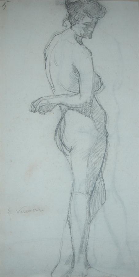 MODELO FEMININO - CRAYON S/ PAPEL - c.1900 - COLEÇÃO PARTICULAR