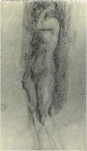 NU FEMININO DE PÉ - CARVÃO SOBRE PAPEL - c. 1900 - LOCALIZAÇÃO DESCONHECIDA
