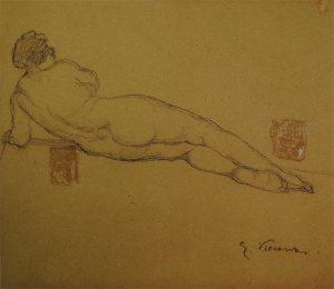 NU FEMININO - VERSO DA OBRA D461 - CRAYON S/ PAPEL - 22,9 x 26,5 cm - c.1900 - MUSEU OSCAR NIEMEYER - CURITIBA/PR
