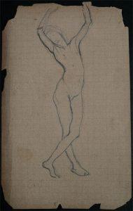 NU - CRAYON S/ PAPEL - 14,0 x 8,5 cm - c.1896 - DESMEMBRADO DE UM CADERNO DE ANOTAÇÕES - COLEÇÃO PARTICULAR