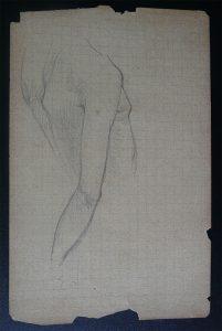 DORSO DE MULHER - ESTUDO PARA ORÉADAS - CRAYON S/ PAPEL - 13,0 x 8,5 cm - c.1899 - DESMEMBRADO DE UM CADERNO DE ANOTAÇÕES - COLEÇÃO PARTICULAR